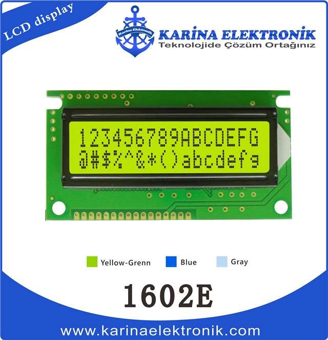 1602E Yellow Colour , Character LCD